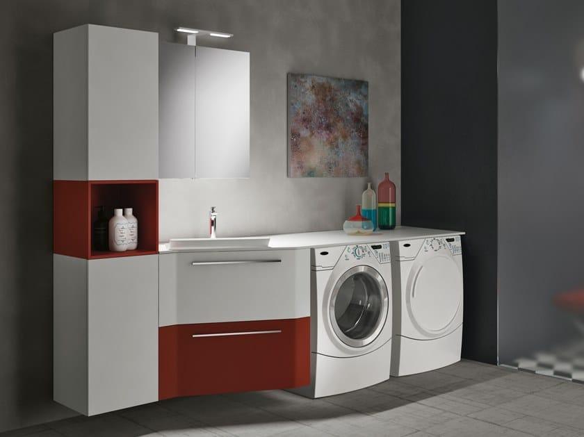 Mobile lavanderia componibile in derivati del legno con cassetti con lavatoio STORE EXCELLENT 403 by Gruppo Geromin