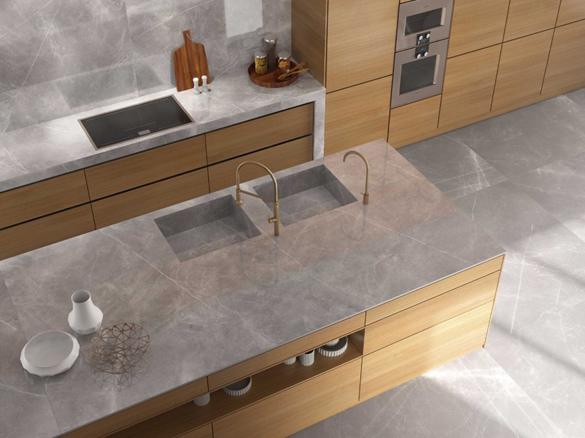storm itopker porcelain stoneware kitchen worktop by inalco. Black Bedroom Furniture Sets. Home Design Ideas