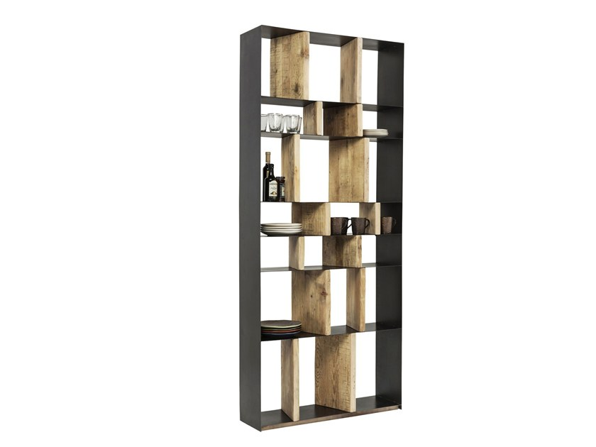 Open steel and wood bookcase STORM | Open bookcase by KARE-DESIGN