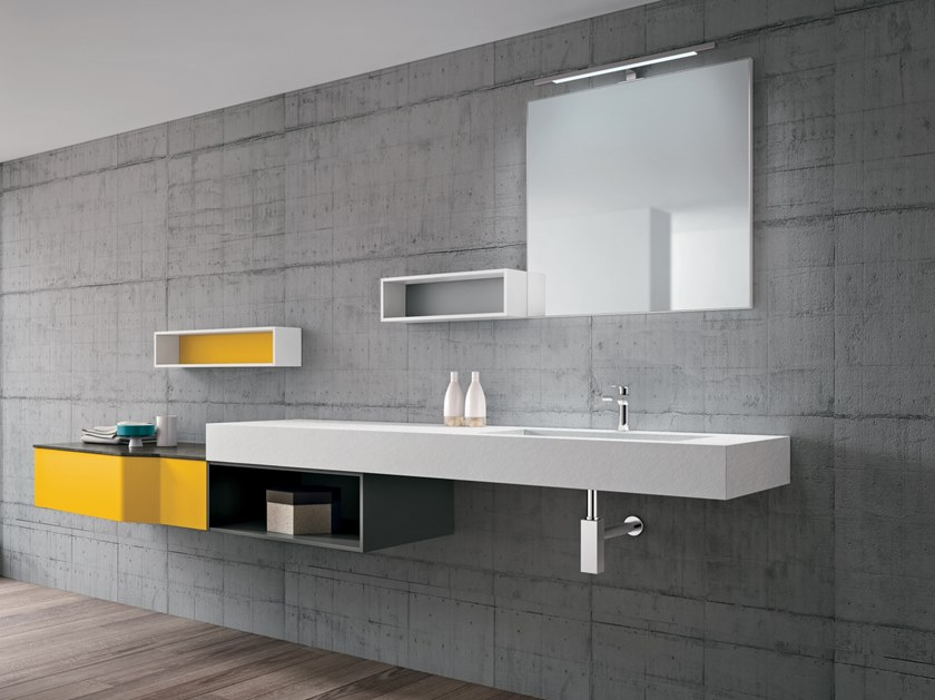 Suspended bathroom cabinet STR8 116 by Gruppo Geromin