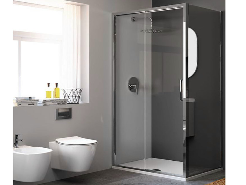 Tempered Glass Shower Cabin With Sliding Door Strada Mod Psc By