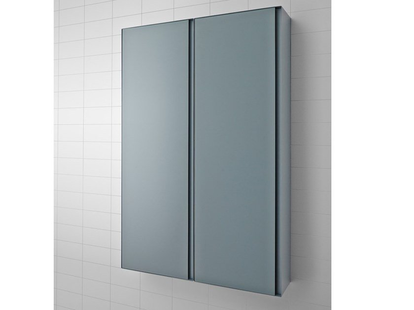 Tall suspended metal bathroom cabinet with doors STRATO   Double bathroom cabinet by INBANI
