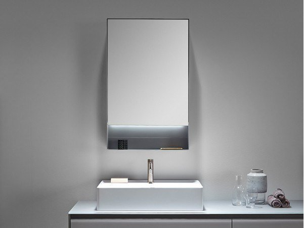 Metal bathroom mirror with cabinet with integrated lighting STRATO | Mirror with cabinet by INBANI