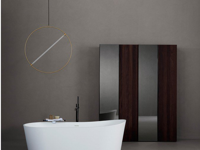 Sectional floorstanding bathroom cabinet with mirror STRATO | Floorstanding bathroom cabinet by INBANI