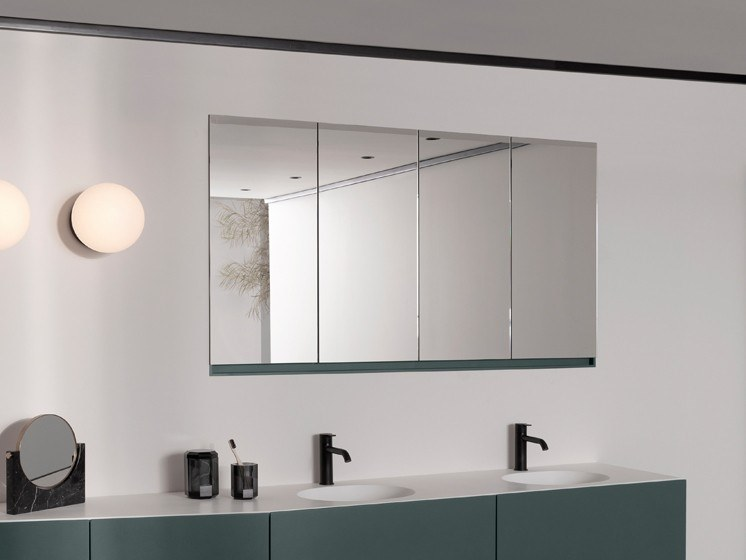 Wall-mounted bathroom mirror with cabinet STRATO   Mirror with cabinet by INBANI