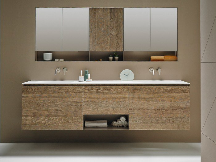 Sectional wall-mounted wooden vanity unit STRATO | Sectional vanity unit by INBANI