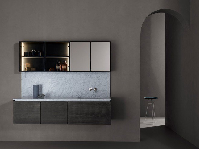 Wooden vanity unit with doors with mirror STRATO   Wall-mounted vanity unit by INBANI
