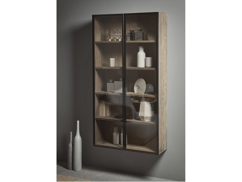 Suspended wood and glass bathroom cabinet with doors STRATO | Wood and glass bathroom cabinet by INBANI