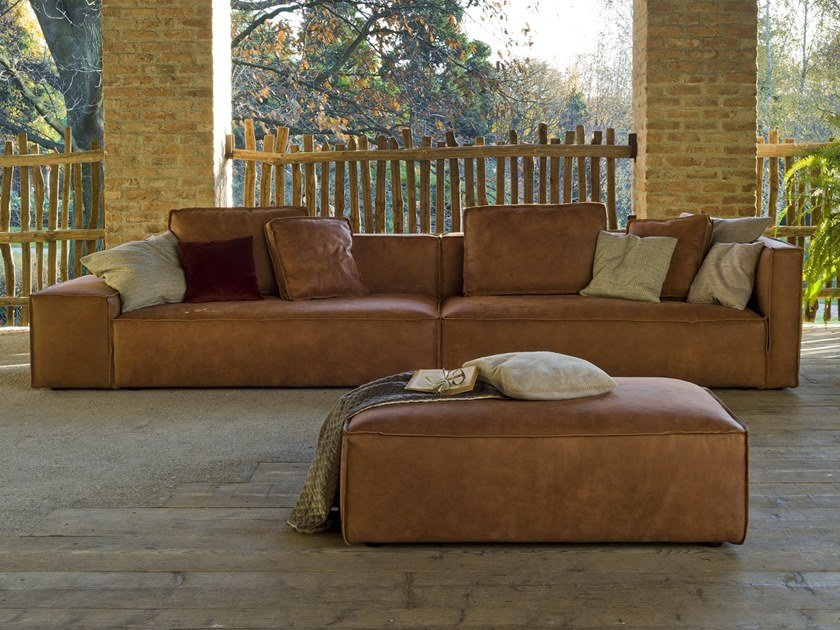 Contemporary style 6 seater upholstered leather sofa STRAUSS TAGLIO VIVO by Flexstyle