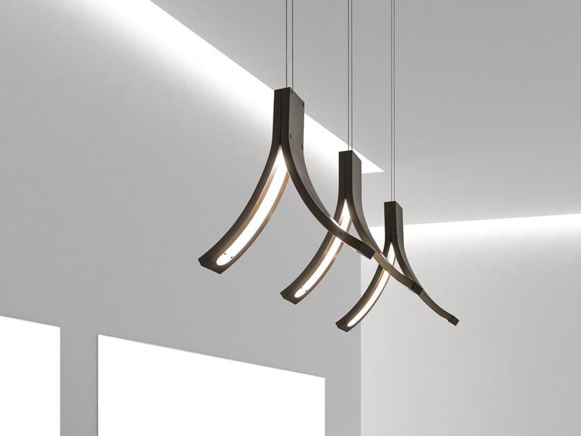 Lampada a sospensione a LED a luce diretta in metallo STREAM H3 by ILFARI
