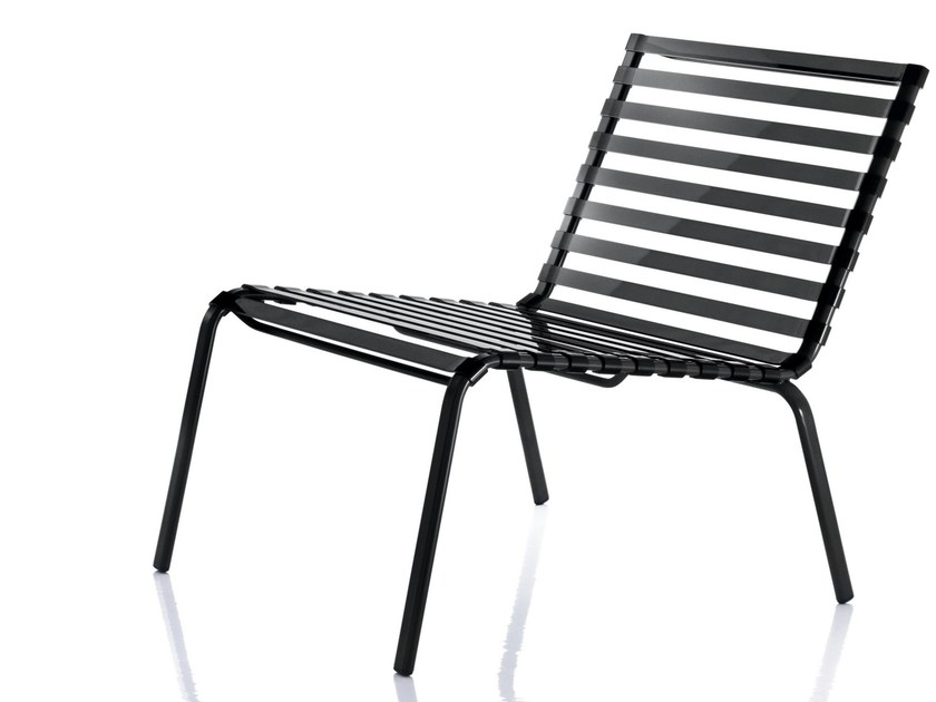 Powder coated steel garden armchair STRIPED | Easy chair by Magis