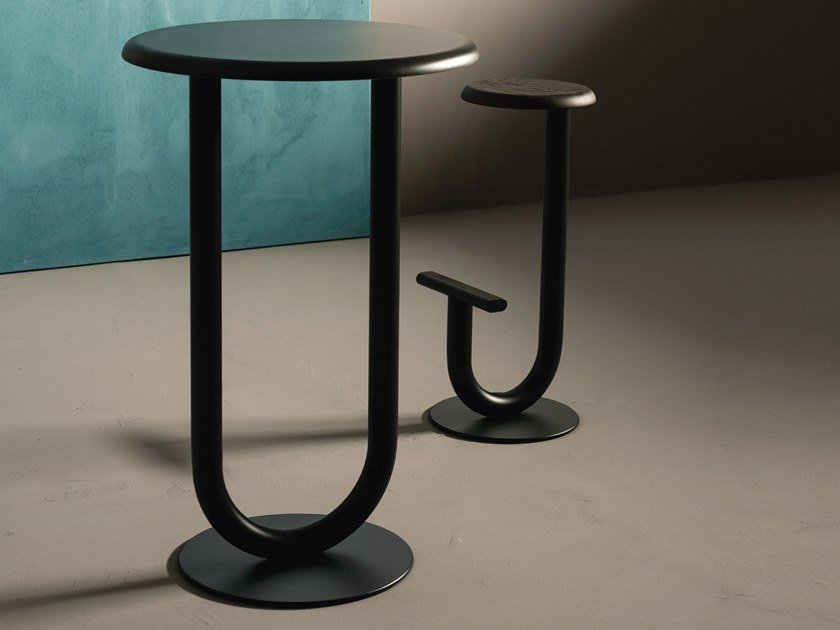 Round steel high table STRONG BAR | High table by Desalto