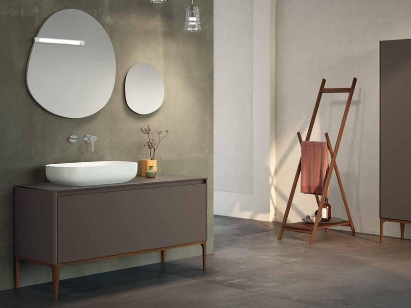 Floor-standing lacquered ash vanity unit SU13 | Vanity unit by Mobiltesino