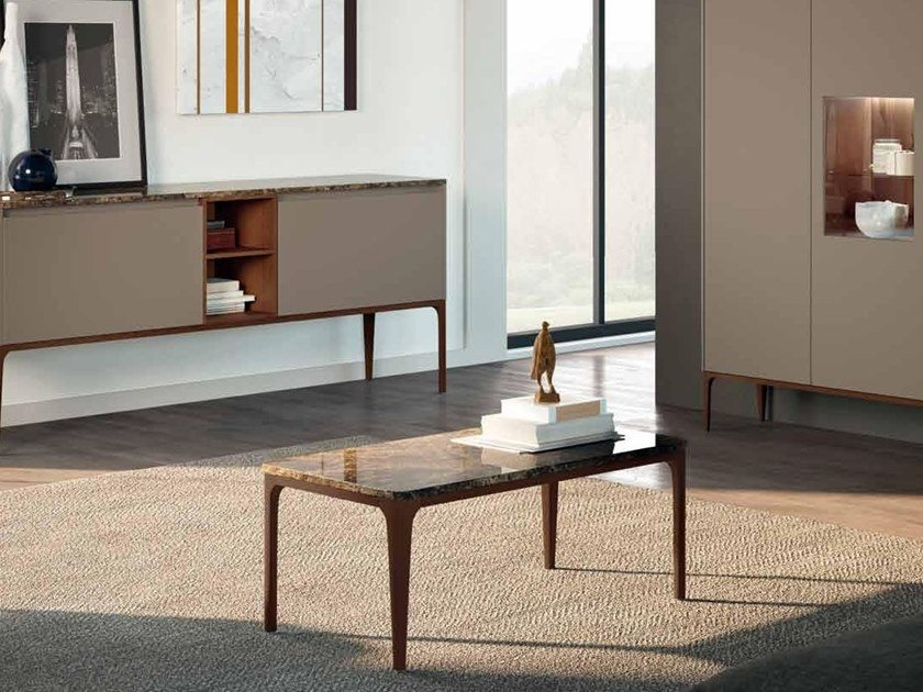 Rectangular Dark Emperador marble coffee table SU14 | Coffee table by Mobiltesino