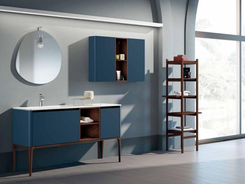 Lacquered ash vanity unit with doors SU16 | Vanity unit by Mobiltesino