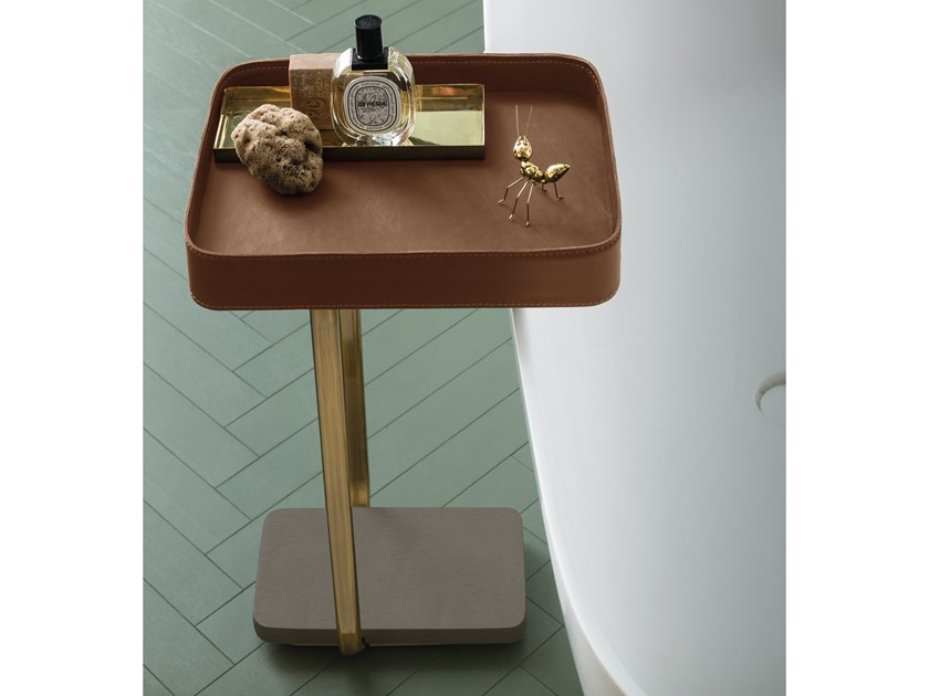 Floorstanding leather bathroom cabinet SUEDE | Bathroom cabinet by Cerasa