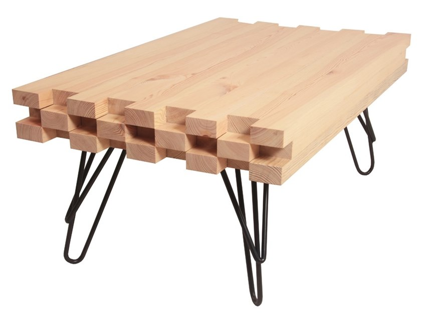 Rectangular pine coffee table SUI by ALANKARAM