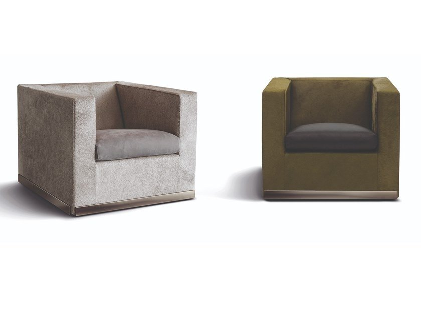 Fabric armchair with armrests SUITCASE LINE by Minotti
