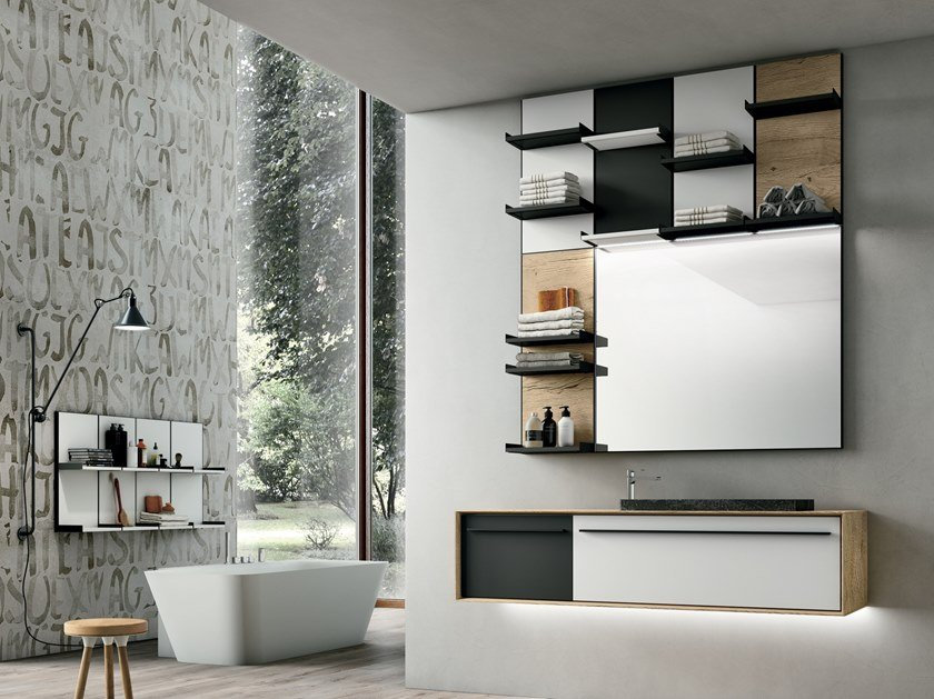 Wall-mounted vanity unit with mirror SUITE 01 by Gruppo Geromin