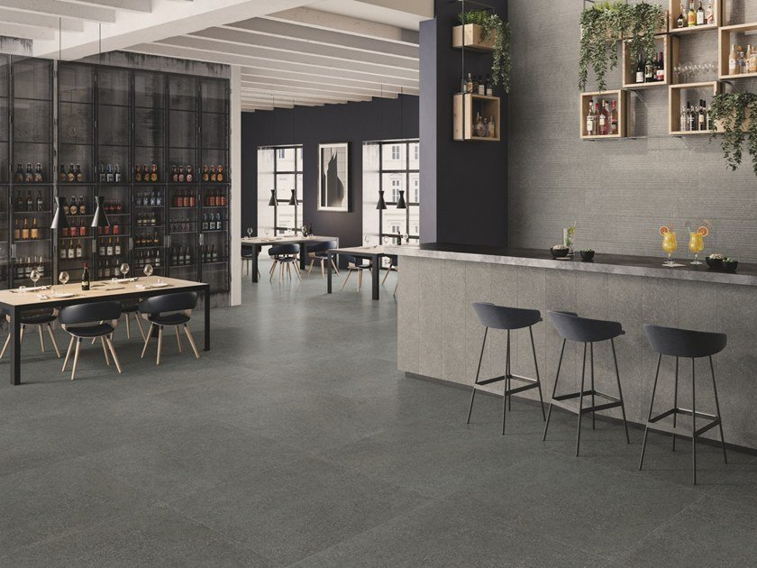 Porcelain stoneware wall/floor tiles with stone effect SUITE ANTHRACITE by CERAMICHE KEOPE