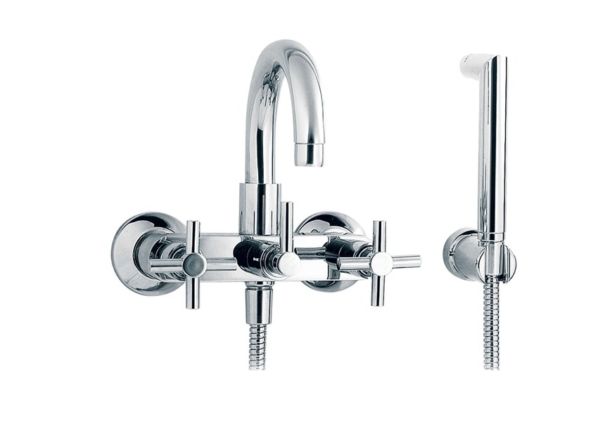 2 hole wall-mounted bathtub mixer with hand shower SULLY | Bathtub mixer with hand shower by rvb