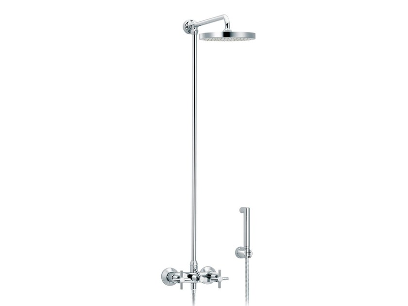 Wall-mounted shower panel with hand shower with overhead shower SULLY | Shower panel with hand shower by rvb
