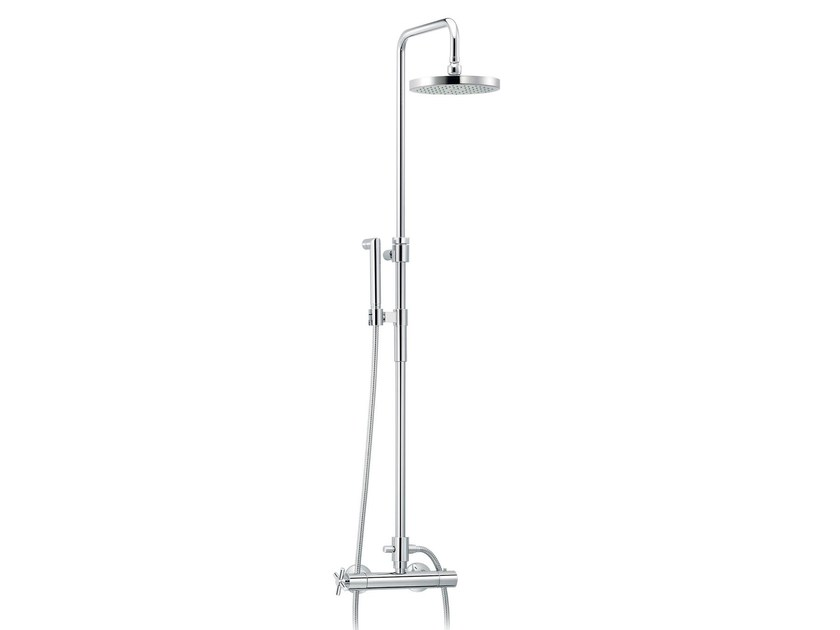 Wall-mounted thermostatic shower panel with hand shower SULLY | Wall-mounted shower panel by rvb