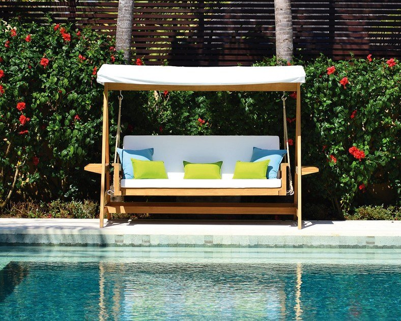 Canopy fabric and teak garden swing seat SULTAN SWING by INDIAN OCEAN & Canopy fabric and teak garden swing seat SULTAN SWING By INDIAN OCEAN