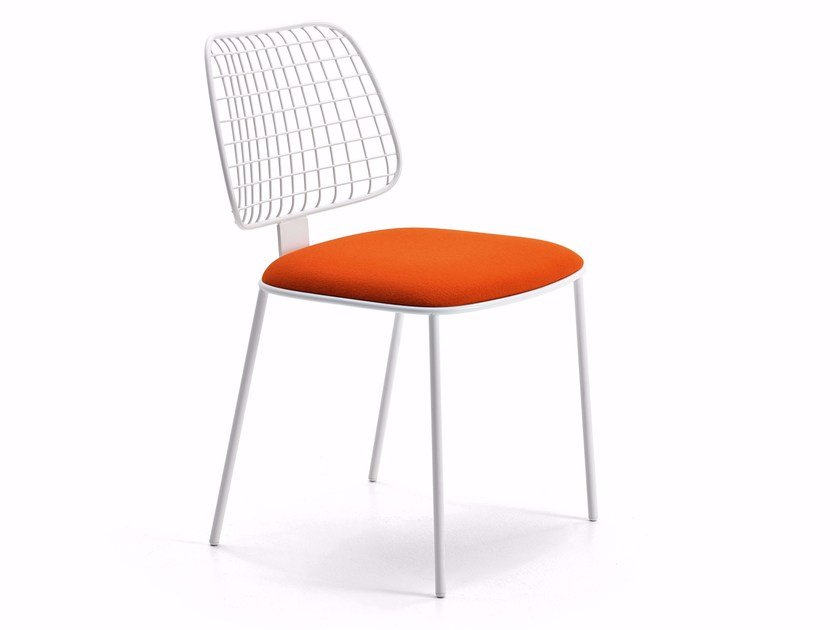 Upholstered powder coated steel chair SUMMERSET | Chair by Varaschin