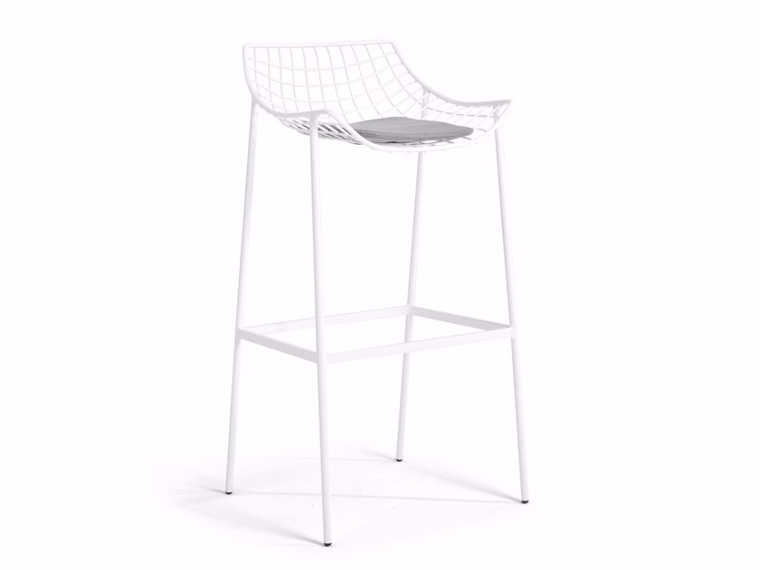 High steel stool with footrest SUMMER SET | Stool by Varaschin