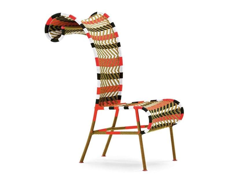 Sedia in fili di polietilene intrecciati con schienale alto SUNNY   Sedia by Moroso