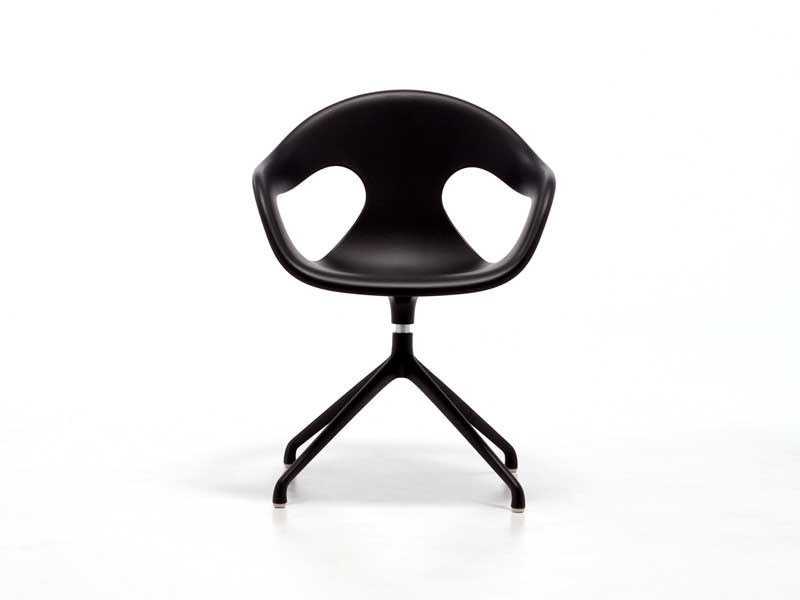 Contemporary style metal chair with 5-spoke base with armrests with integrated cushion SUNNY PLASTIC SP | Swivel chair by arrmet
