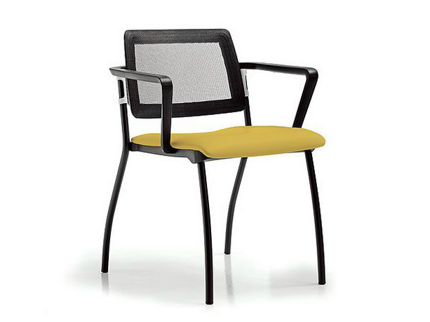 Stackable fabric training chair with armrests SUNNY | Fabric training chair by Diemme