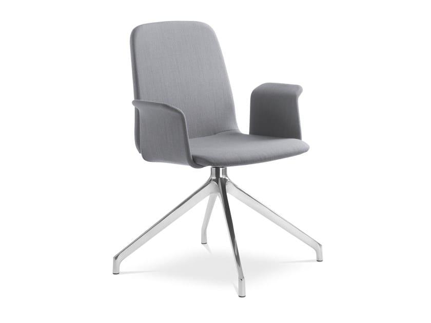 Sedia ufficio in tessuto con braccioli su trespolo SUNRISE 152 BR F70-N6 by LD Seating