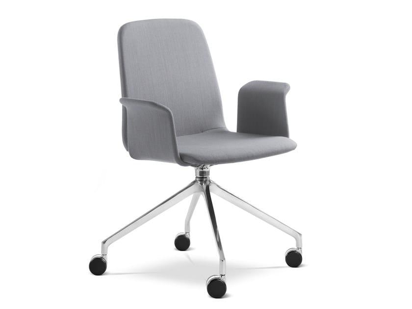 Sedia ufficio in tessuto con braccioli con ruote SUNRISE 152 BR F75-N6 by LD Seating