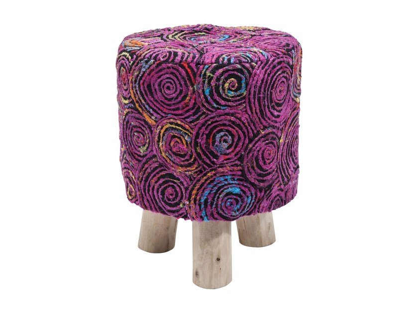 Low fabric stool SUNSET PINK | Low stool by KARE-DESIGN
