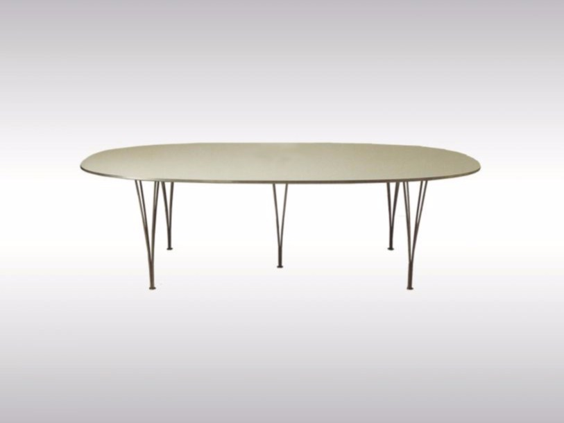 Oval steel and wood table SUPER-ELLIPSE by Woka Lamps Vienna