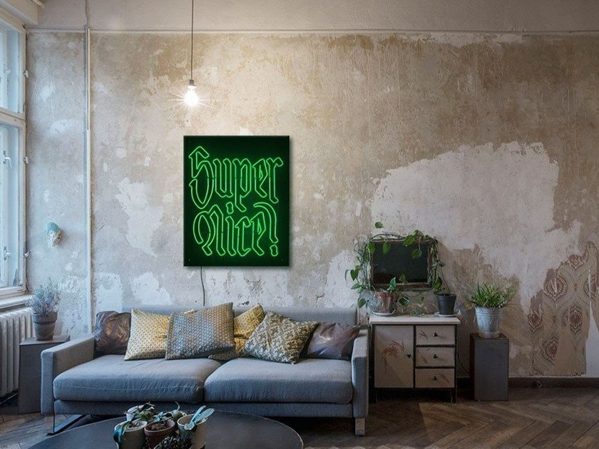 Wall-mounted neon light installation SUPERNICE by sygns
