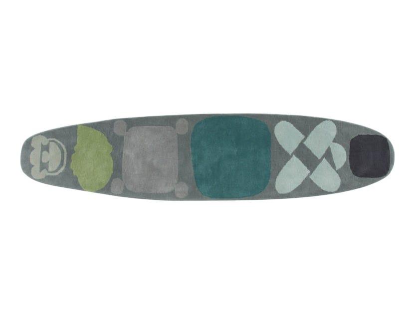 Handmade wool rug SURF RACE INDICO BLUE by GAN