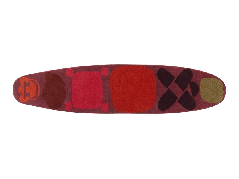 Handmade wool rug SURF RACE INDICO RED by GAN