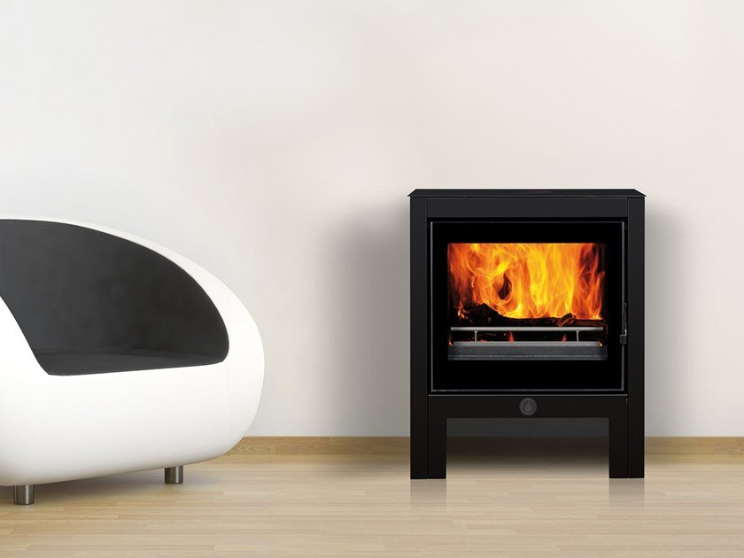 Wood-burning Class A+ wall-mounted steel stove SUZANNE by CAMINETTI MONTEGRAPPA
