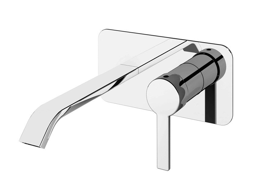 2 hole wall-mounted chromed brass washbasin mixer with plate SWEET 46 - 4610108 by Fir Italia