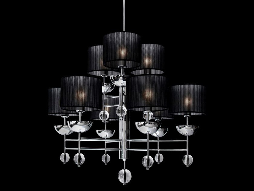 Direct-indirect light metal chandelier SWEET SYMPHONY H9 by ILFARI