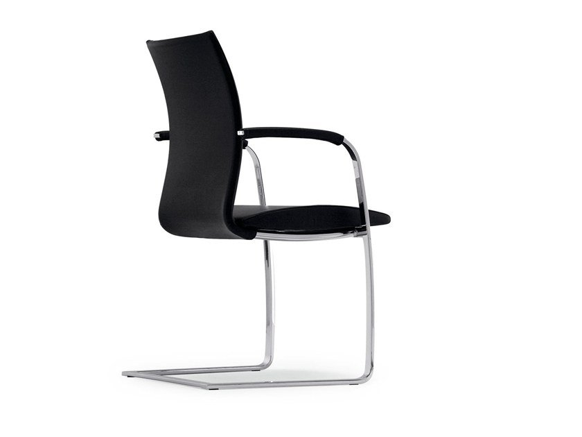 Cantilever leather chair with armrests SWING | Chair with armrests by Tonon