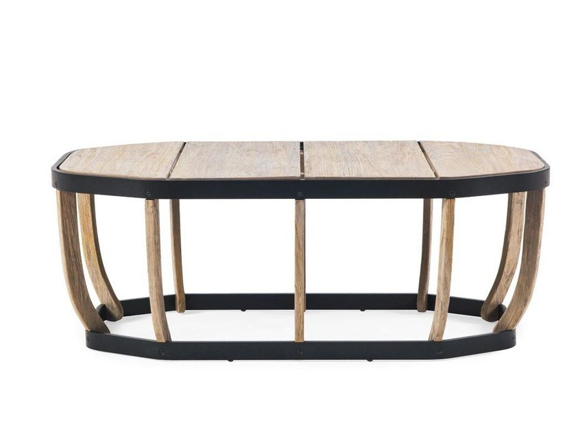 Low oval teak garden side table SWING | Low coffee table by Ethimo
