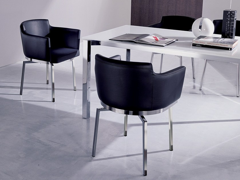Leather chair with armrests SWING by Ozzio Italia