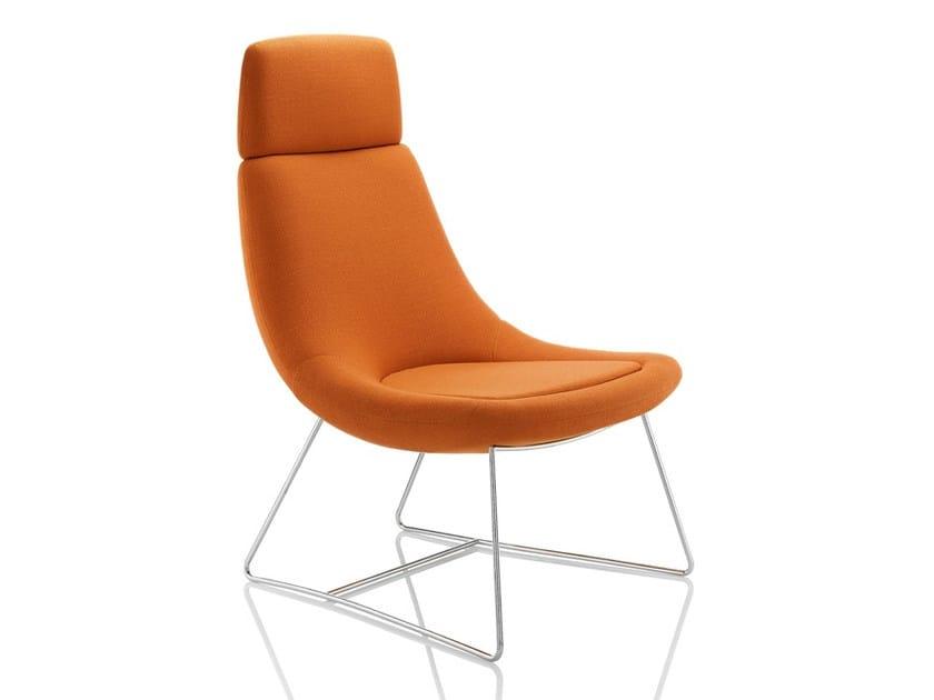 Sled base upholstered easy chair high-back SWING | Sled base easy chair by Boss Design