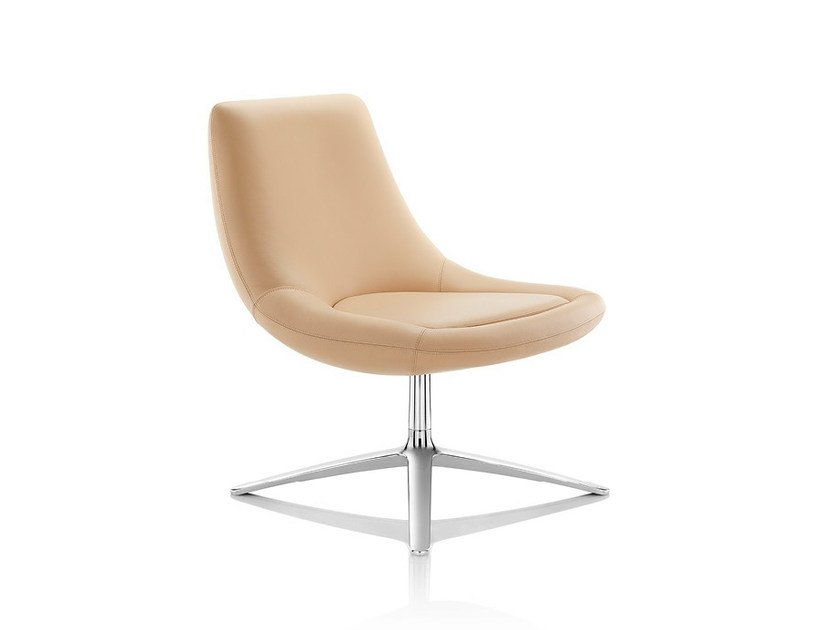Swivel leather easy chair with 4-spoke base SWING | Leather easy chair by Boss Design