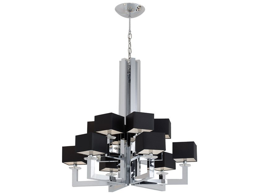 Direct-indirect light metal chandelier with Swarovski® Crystals SWINGING BALLET H12 by ILFARI