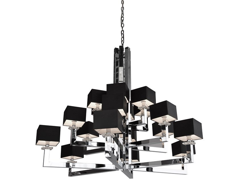 Direct-indirect light metal chandelier with Swarovski® Crystals SWINGING BALLET H18 XXL by ILFARI